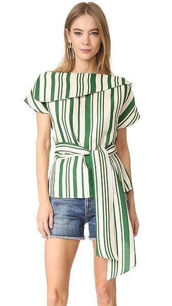 J.O.A. Off Shoulder Stripe Tunic - Green/Ivory