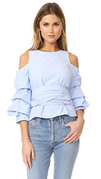 J.O.A. Cold Shoulder Ruffle Sleeve Top