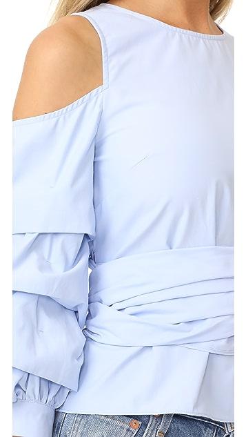 J.O.A. Cold Shoulder Ruffle Sleeve Top