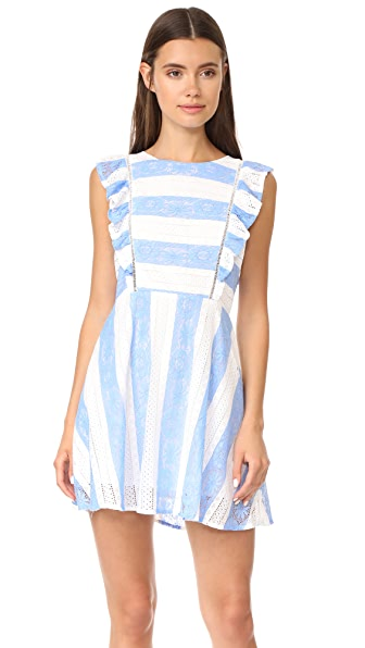 J.O.A. Frill Sleeve Dress - Blue/White