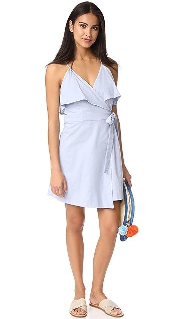 J.O.A. Cold Shoulder Wrap Ruffle Dress