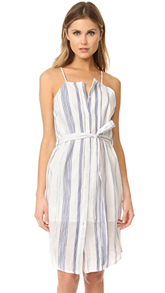 J.O.A. Stripe Button Down Sheath Dress In White/Navy Stripe