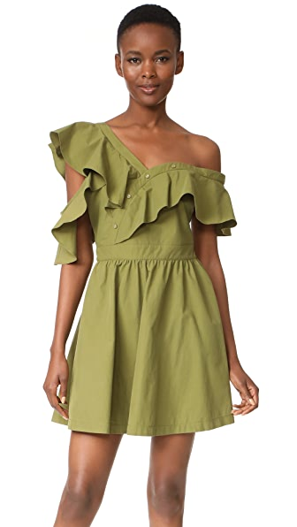 J.O.A. Off Shoulder Dress - Olive
