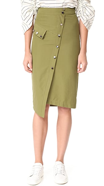 J.O.A. Button Down Skirt In Olive