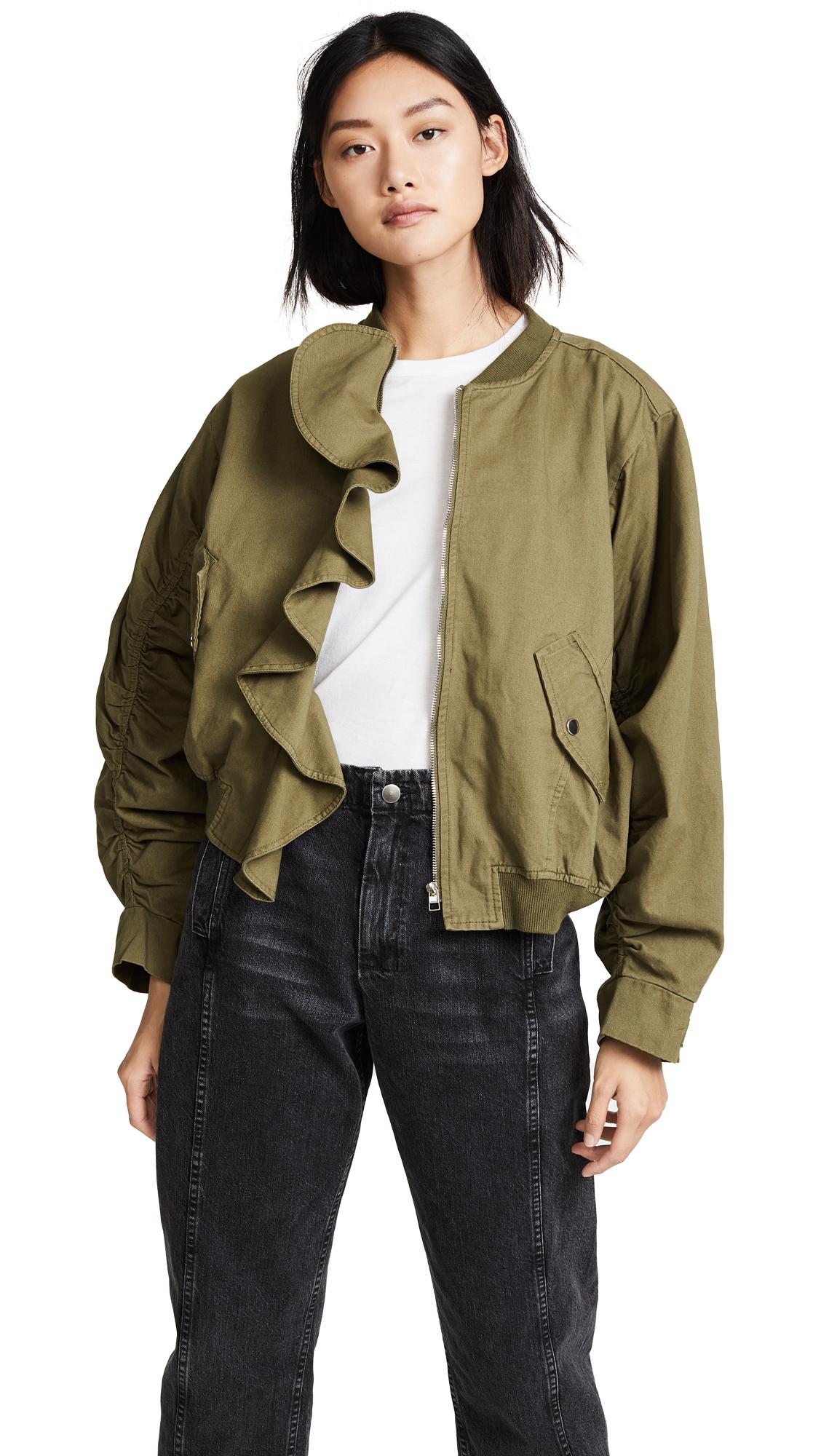 J.O.A. Ruffle Bomber Jacket - Green