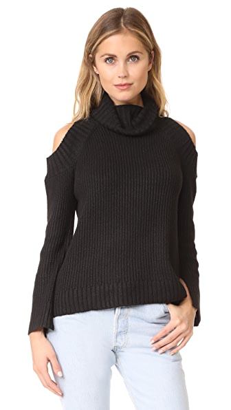 J.O.A. Cold Shoulder Turtleneck Sweater In Black