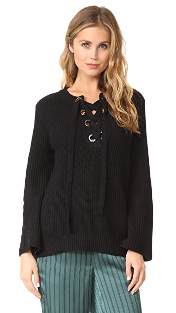 J.O.A. Lace Up Belle Sweater