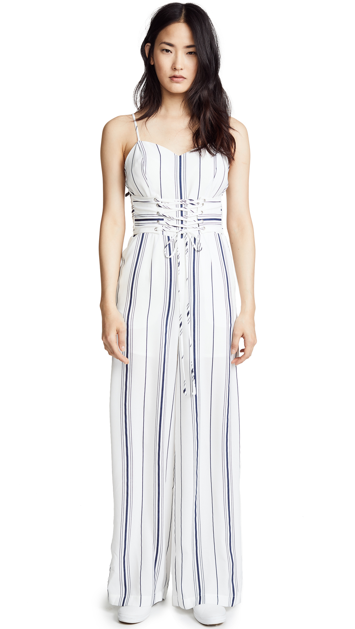 2c72702570a J.O.A. Stripe Jumpsuit In White Navy