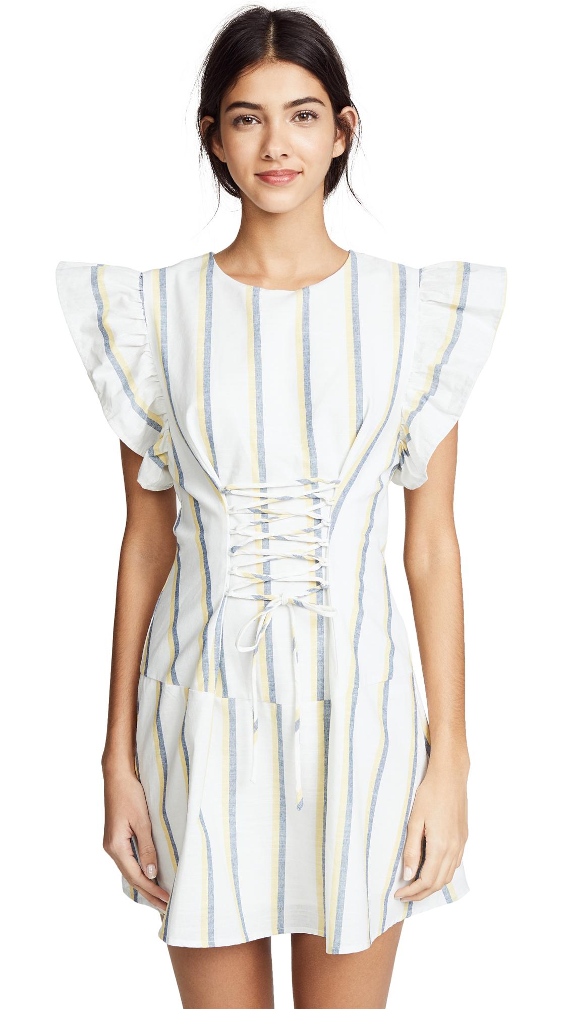 J.O.A. Stripe Lace Up Dress