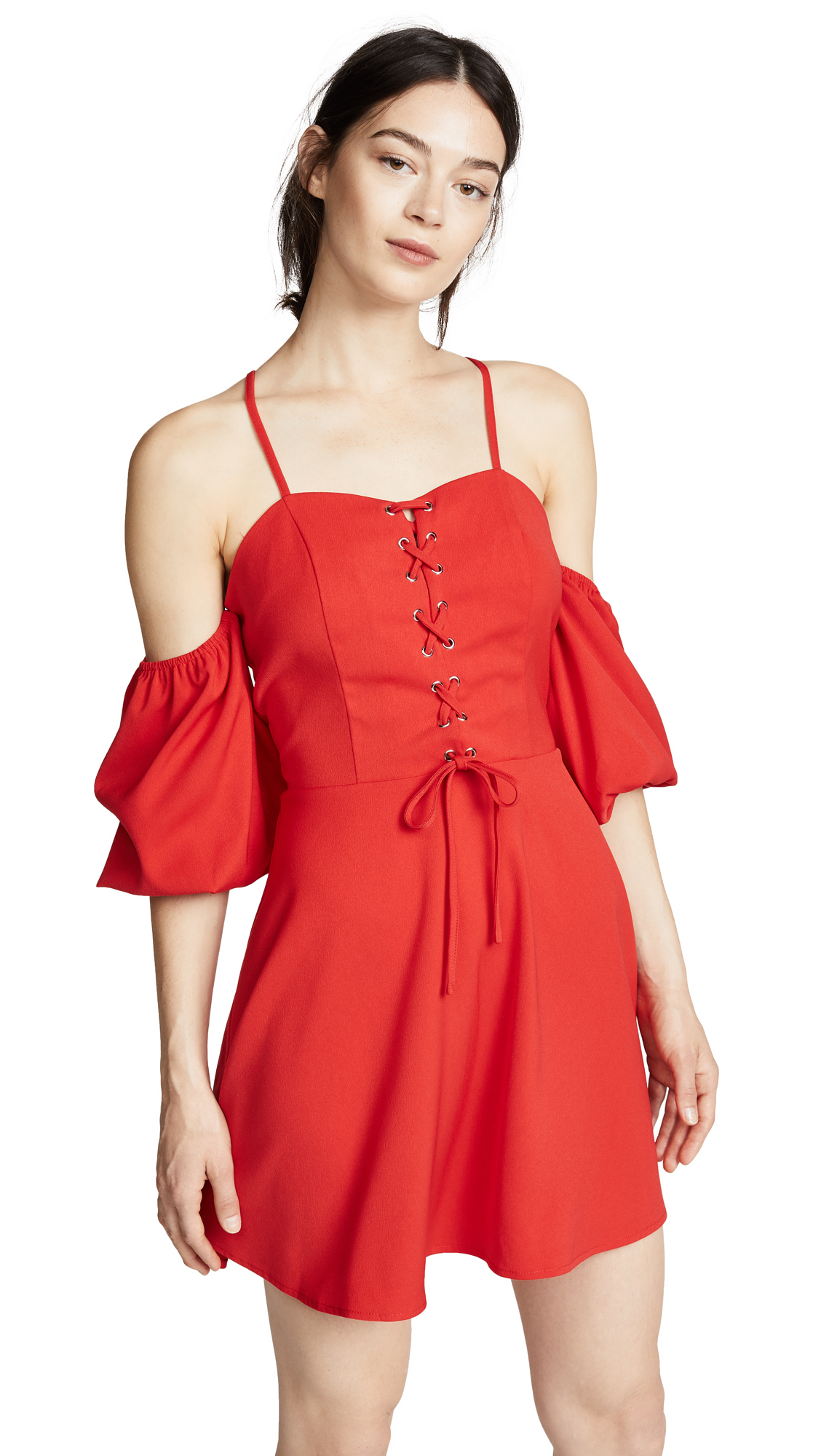 J.O.A. Puff Sleeve Dress In Tomato