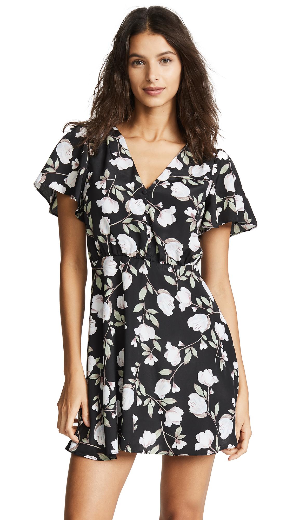 J.O.A. Black Floral Wrap Dress