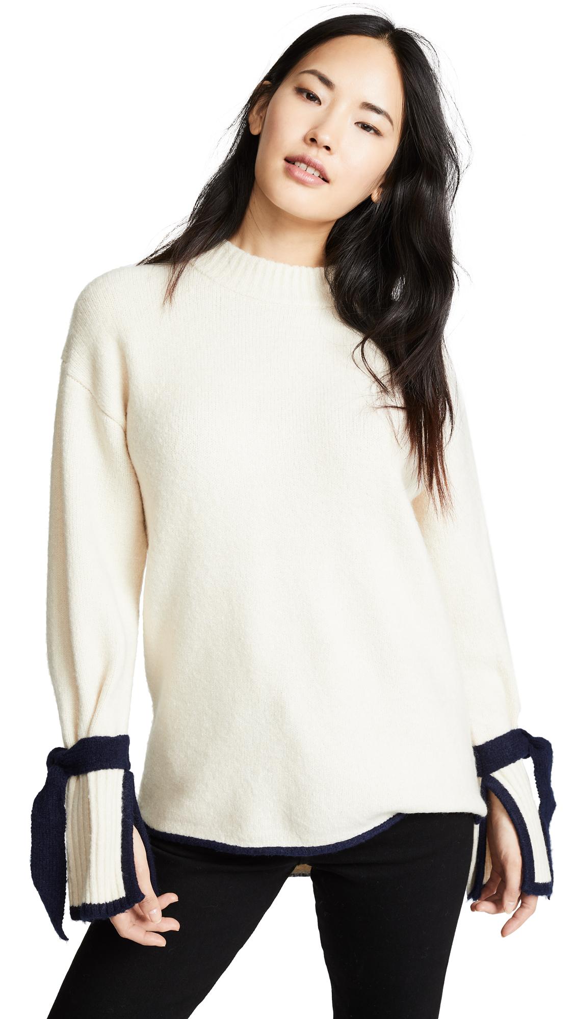 JOA Tie Sleeve Sweater in Cream