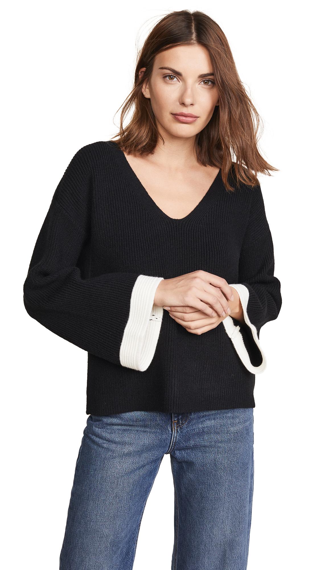 JOA Scoop Neck Sweater in Black