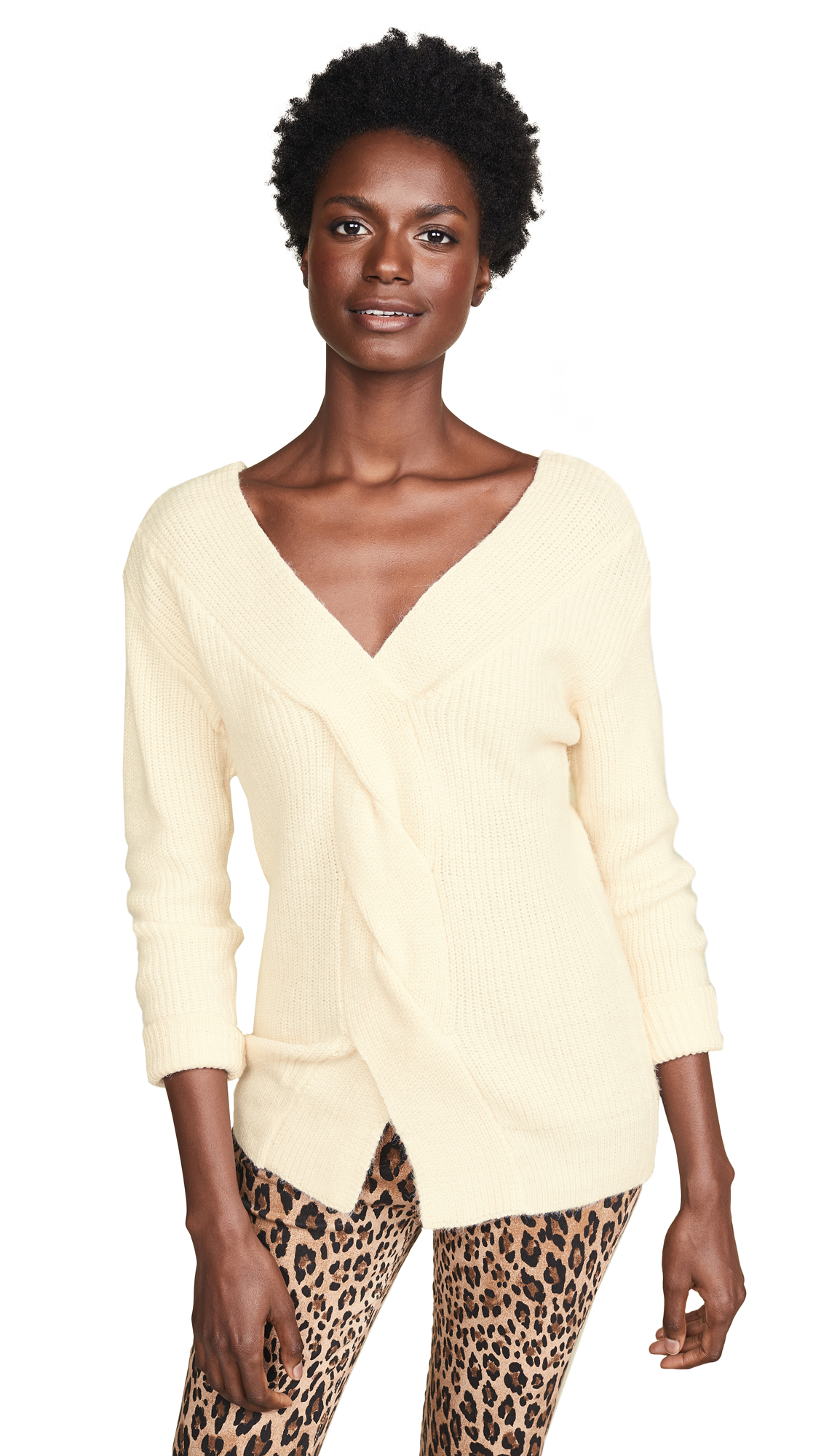 JOA Braid Sweater in Ivory