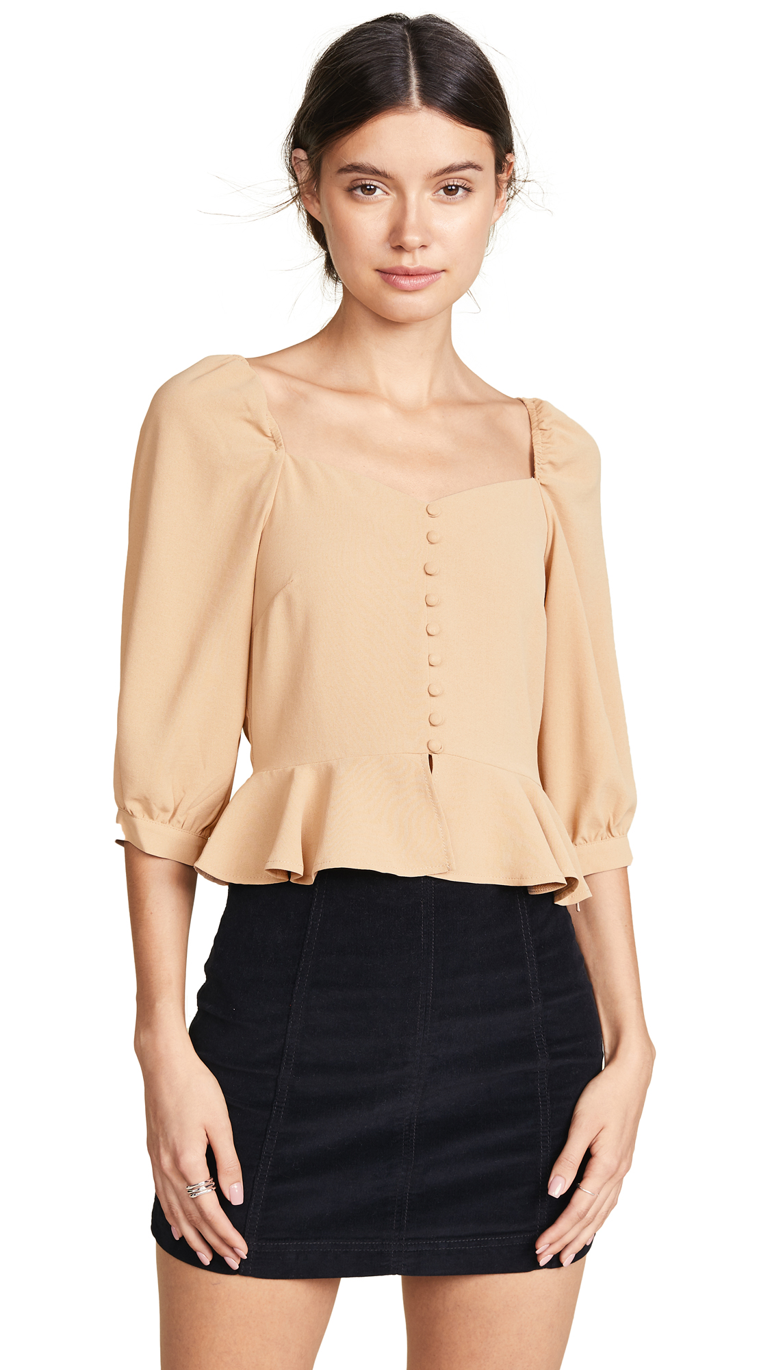Buy J.O.A. online - photo of J.O.A. Puff Sleeve Wide Neck Top