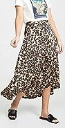J.O.A. Sheen Leopard Skirt
