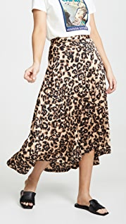J.O.A. Sheen Leopard Skirt