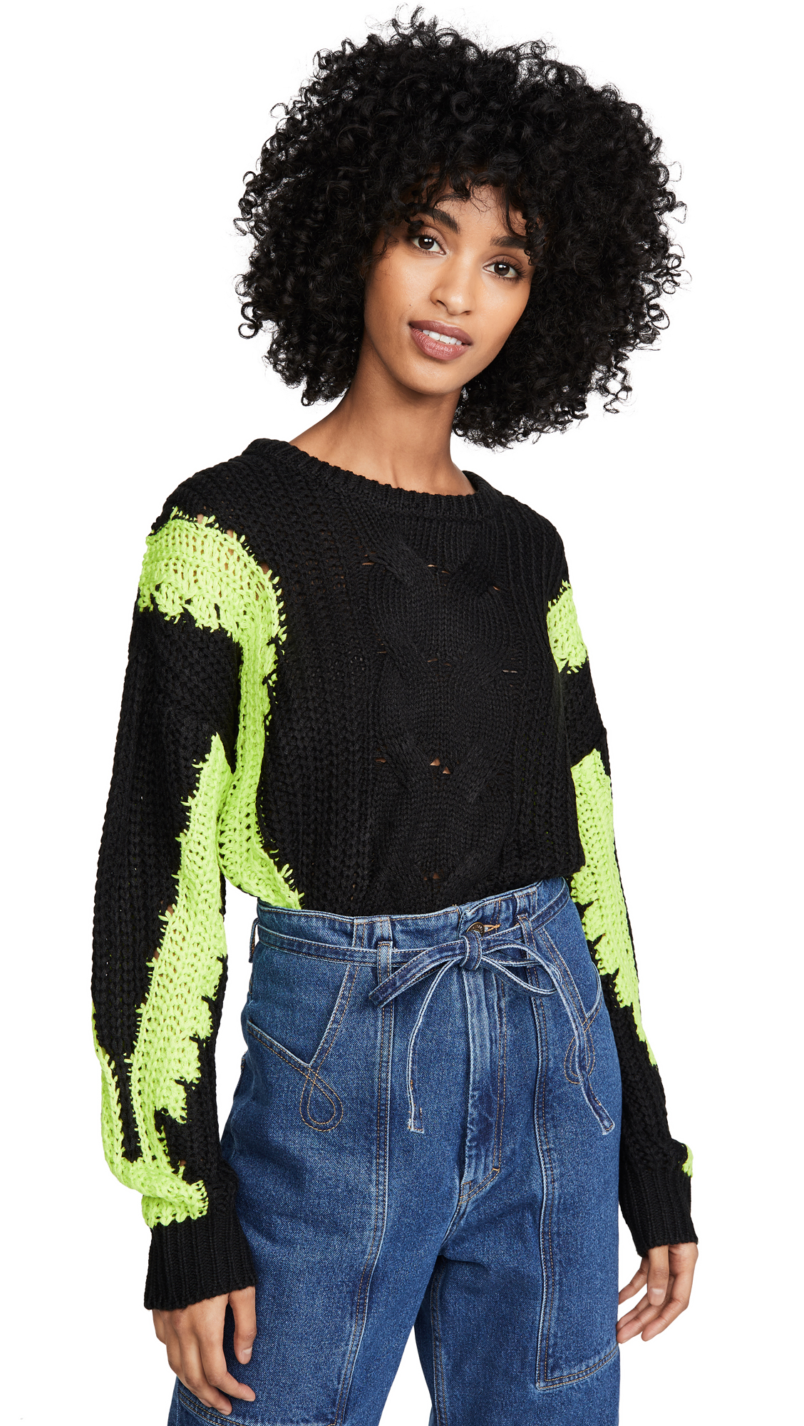 Buy J.O.A. online - photo of J.O.A. Contrast Cable Knit Sweater