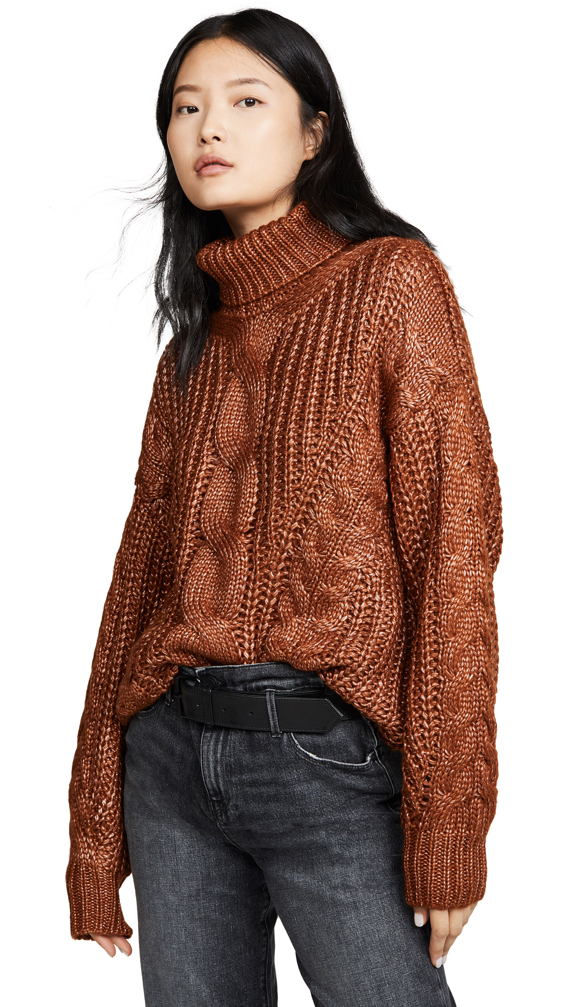 Buy J.O.A. online - photo of J.O.A. Cable Turtleneck Sweater