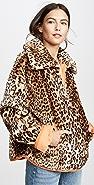 J.O.A. Leopard Half Zip Jacket