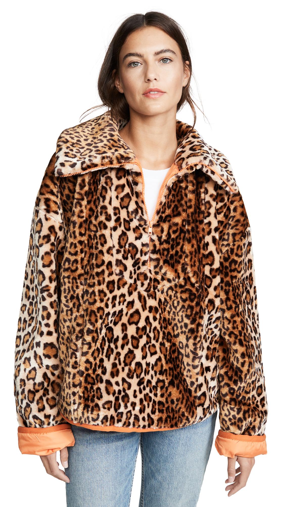Buy J.O.A. online - photo of J.O.A. Leopard Half Zip Jacket
