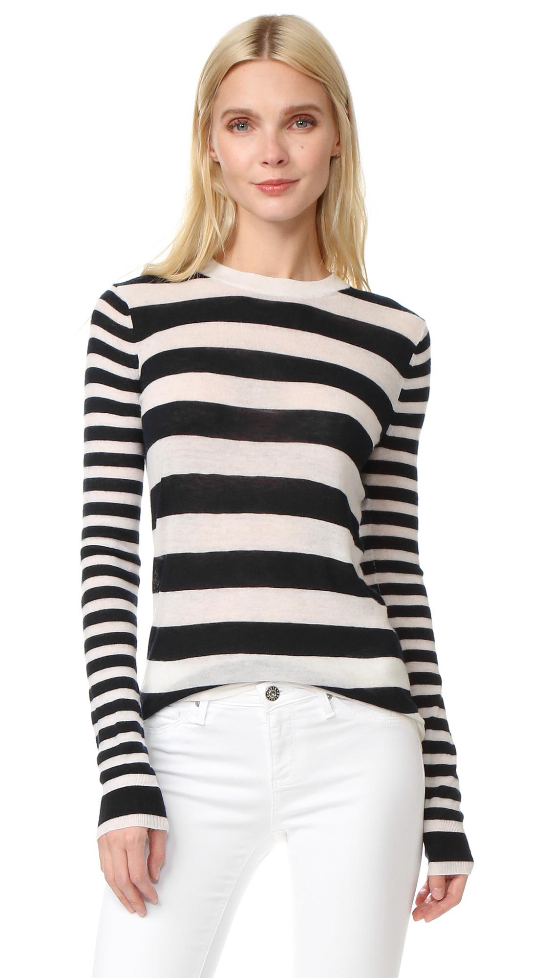 Joseph Stripe Round Neck Cashmere Sweater - Ecru/Navy