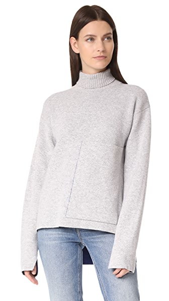Joseph Roll Neck Double Face Sweater - Concrete/Blue