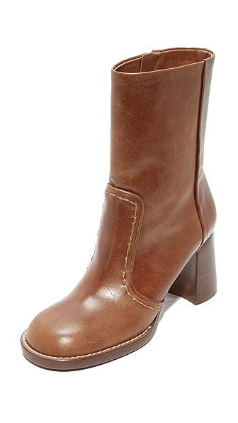 Joseph Duke Round Toe Mid Calf Boots - Cuoio