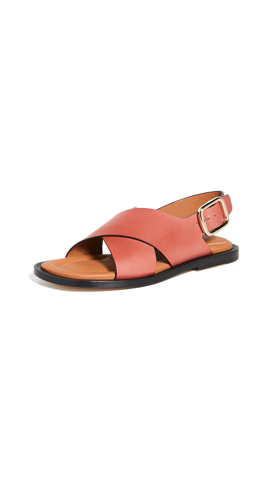 Joseph Leather Crisscross Sandals In Siena