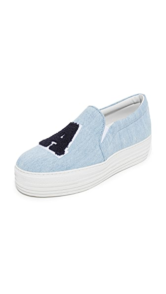 Joshua Sanders LA Platform Denim Slip On Sneakers - Blue Jeans