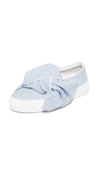 Joshua Sanders Skinny Stripes Bow Slip On Sneakers - Skinny Stripes