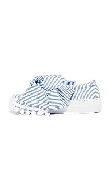 Joshua Sanders Skinny Stripes Bow Slip On Sneakers