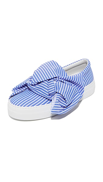 Joshua Sanders Wide Stripes Bow Slip On Sneakers