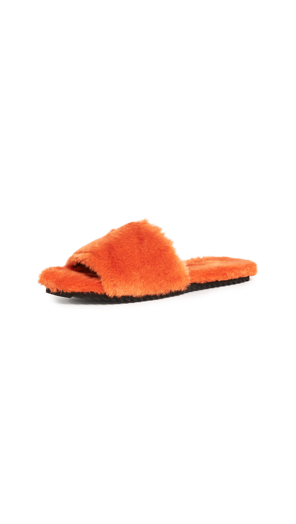 Joshua Sanders Eco Faux Fur Slides - Orange