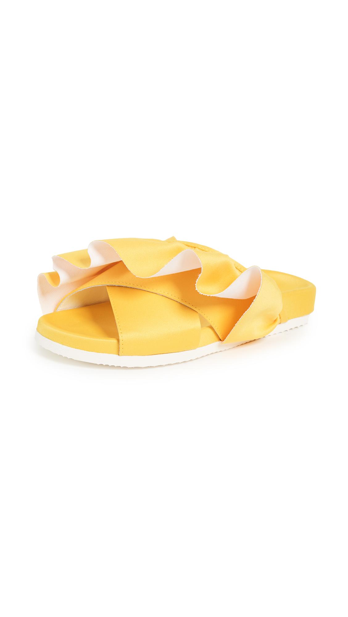Joshua Sanders Ruffle Crisscross Slides - Yellow