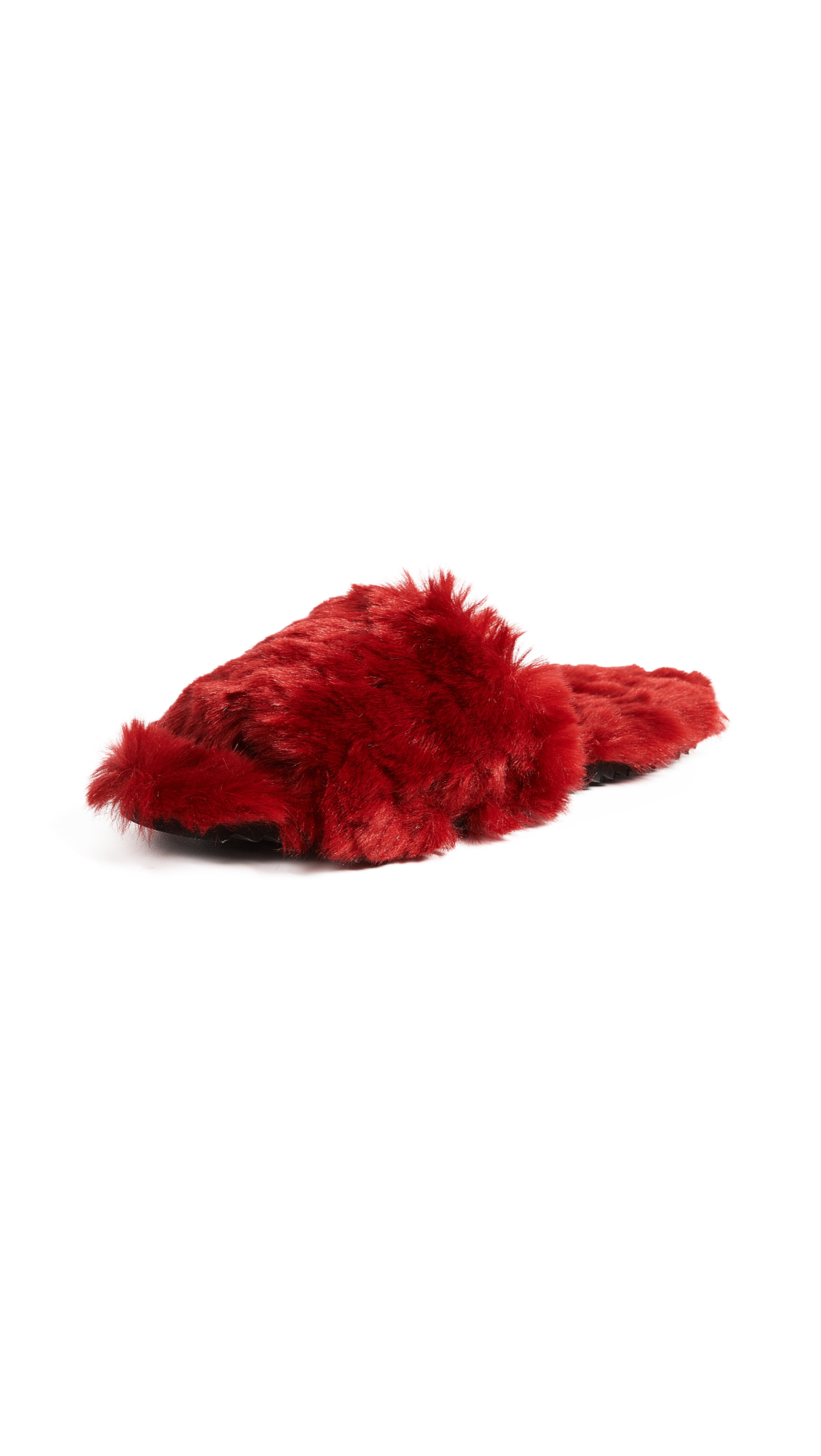 Joshua Sanders Pop Faux Fur Slides - Red Pop