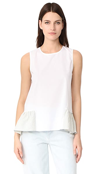 JOUR/NE Poplin Seersucker Top In Baby Blue/White