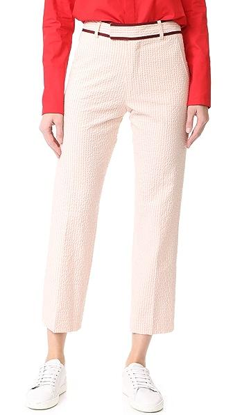 JOUR/NE Seersucker Trousers In Baby Pink