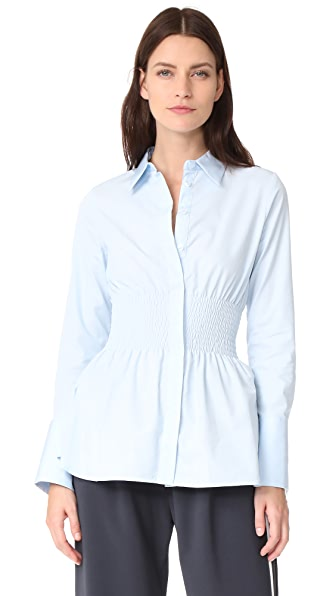 JOUR/NE Smocked Waist Shirt In Baby Blue