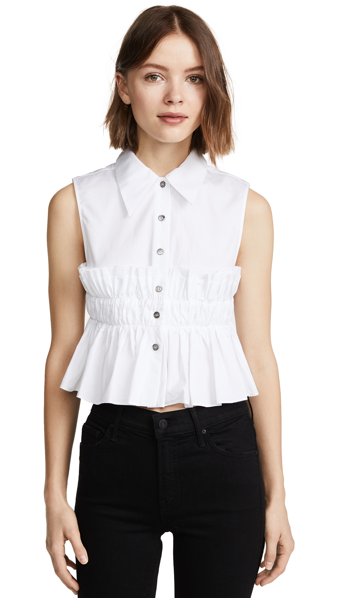 Jourden Smocked Crop Shirt In White