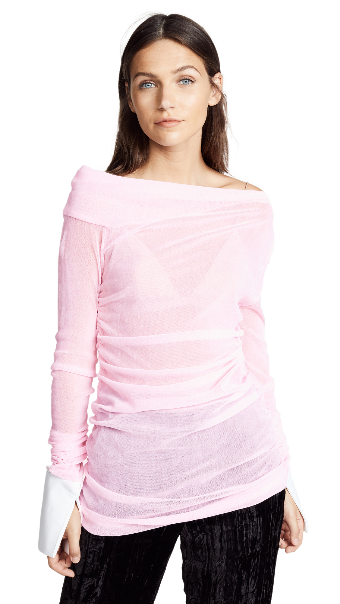 Jourden Stretched Velvet Ruffle Top In Pink