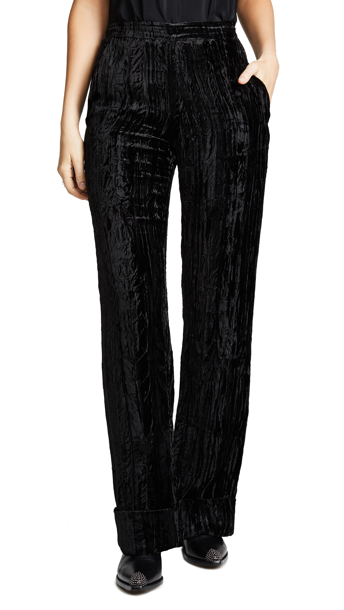 Jourden Crushed Velvet Trousers In Black