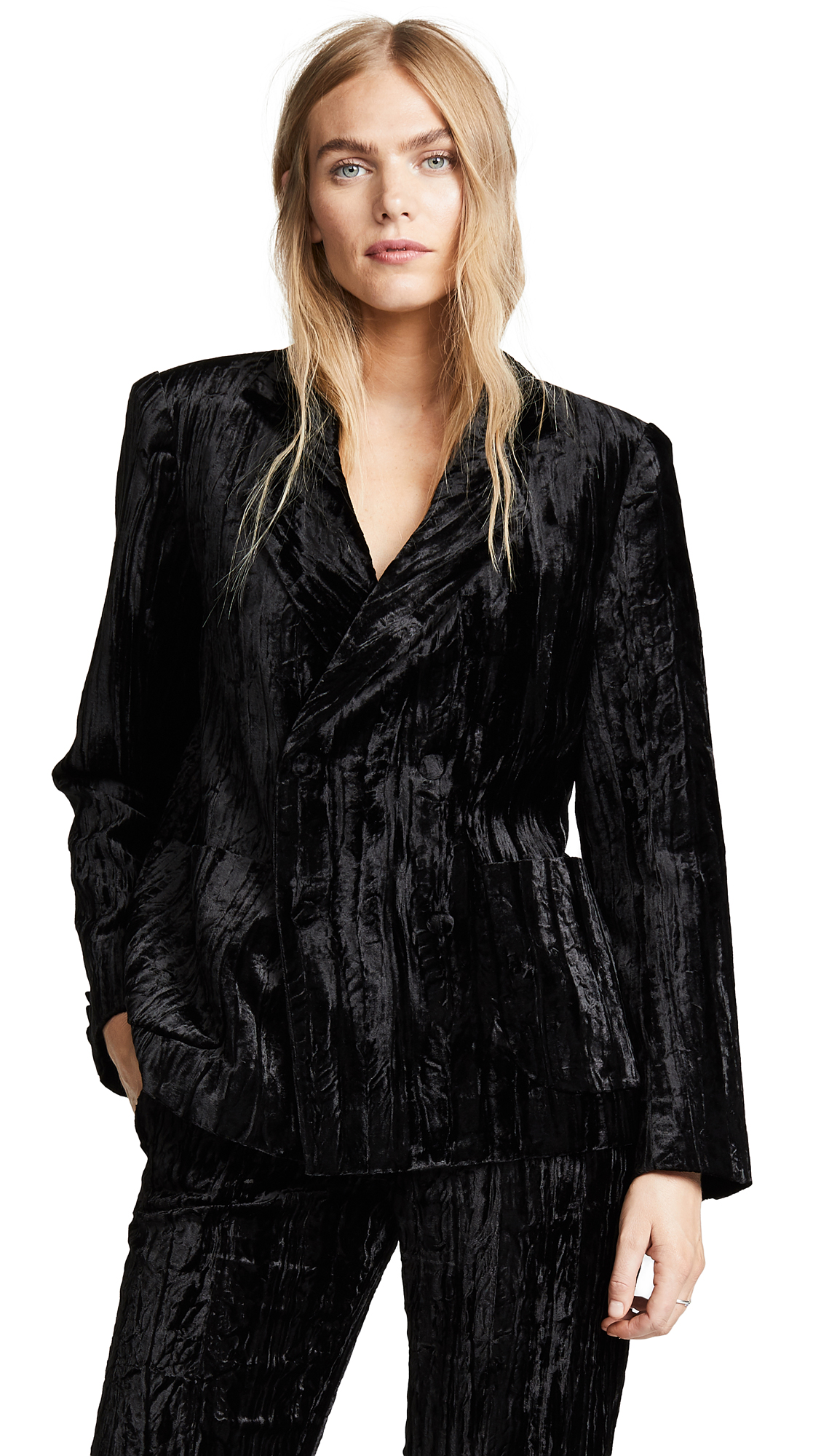 JOURDEN Crushed Velvet Blazer in Black