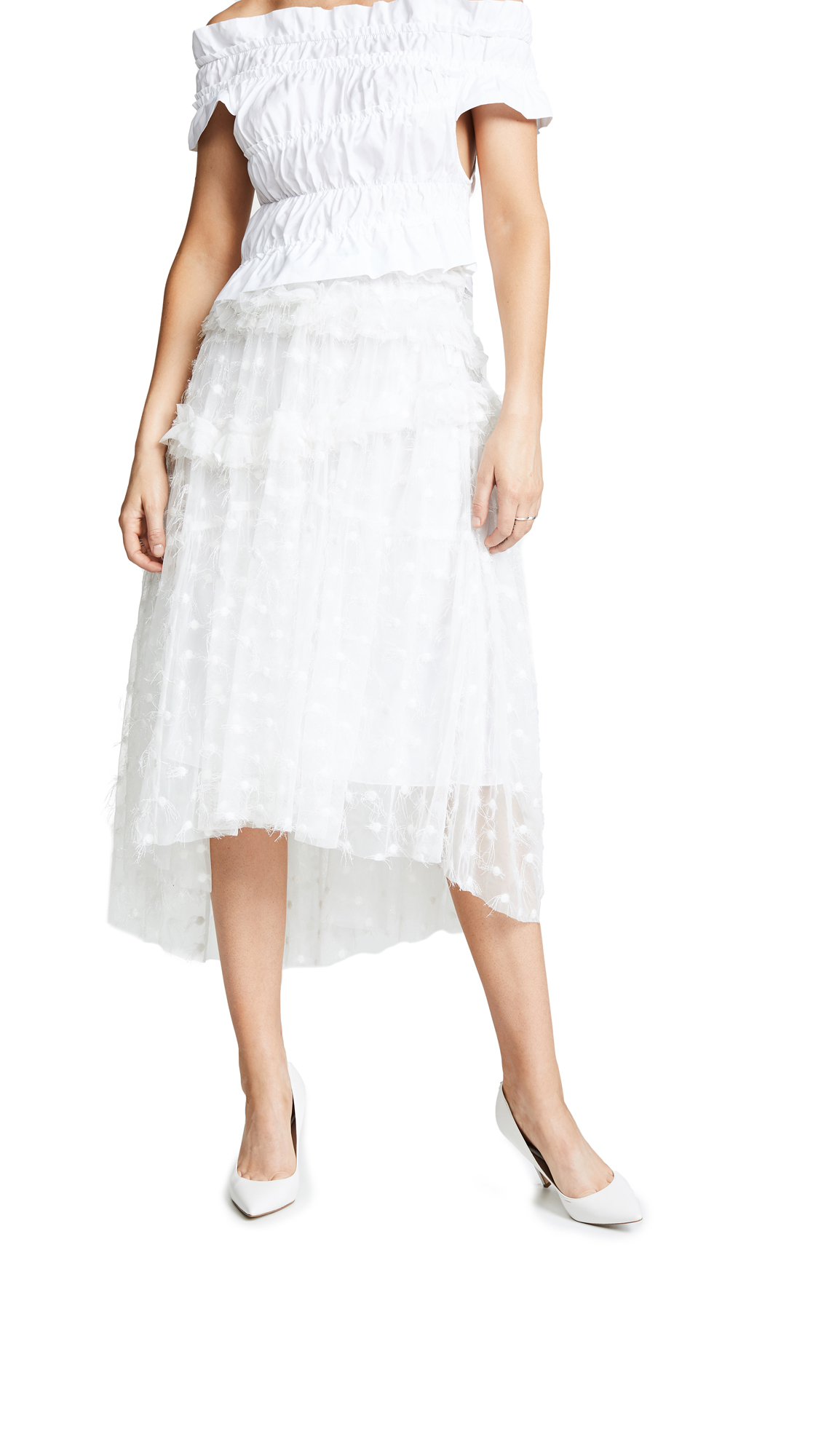 Jourden Twinkle Tulle Midi Skirt In White