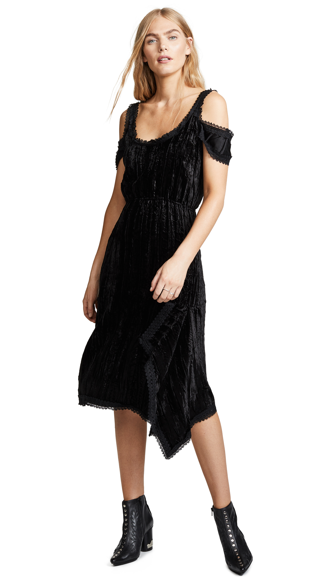 Jourden Crushed Velvet Layered Dress