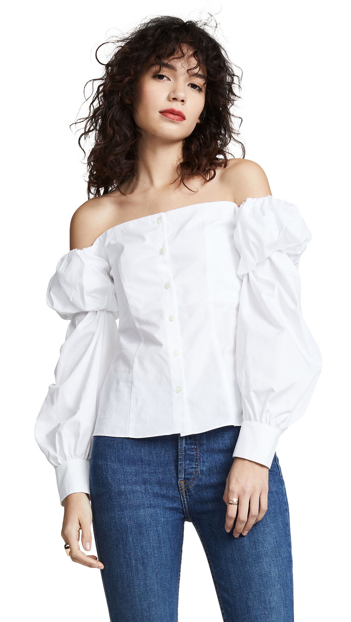 JOURDEN Off Shoulder Poplin Top in White
