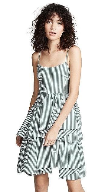Anais Jourden Striped Asymmetric Dress