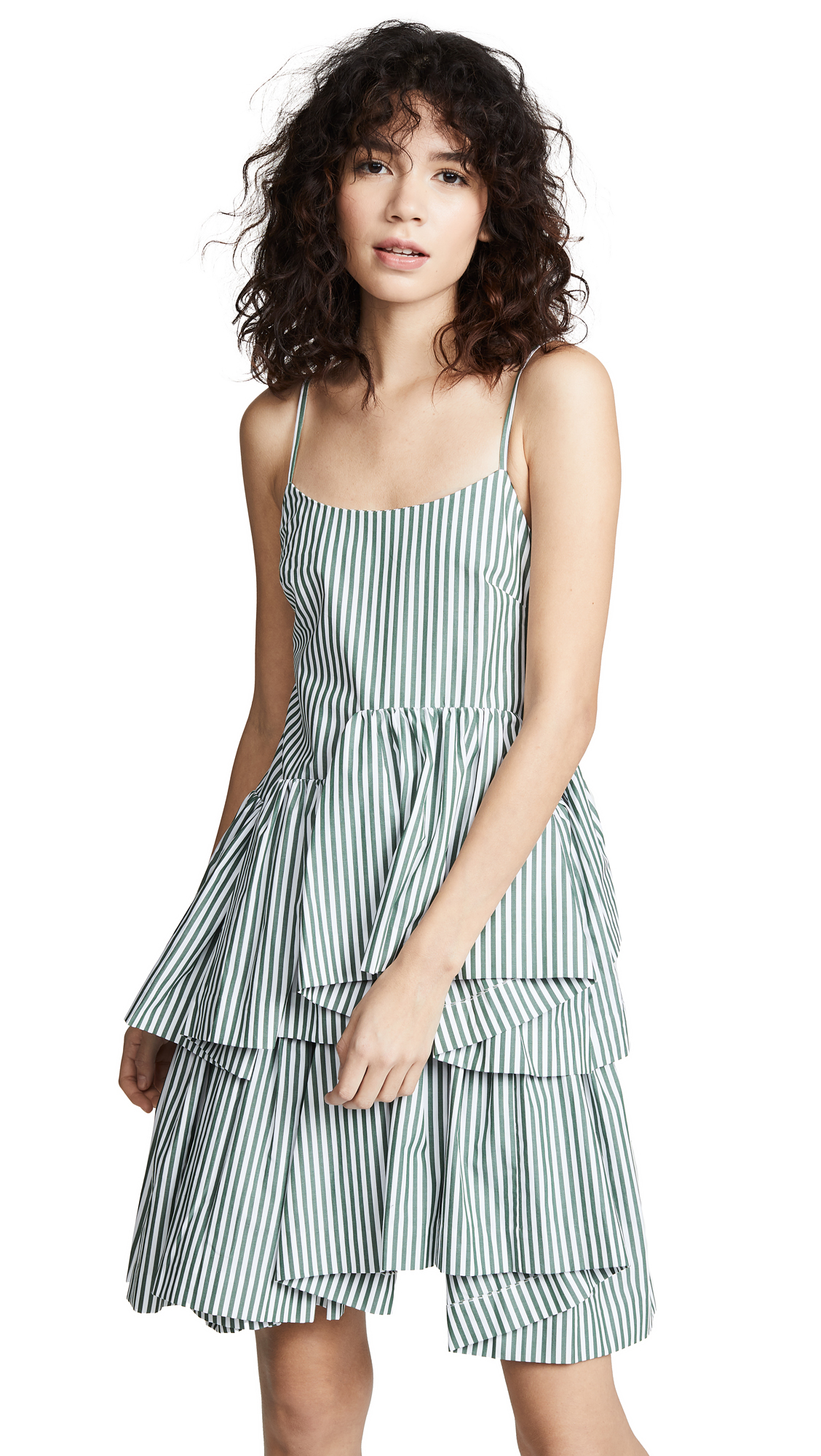 JOURDEN Striped Asymmetric Dress in Olive/White
