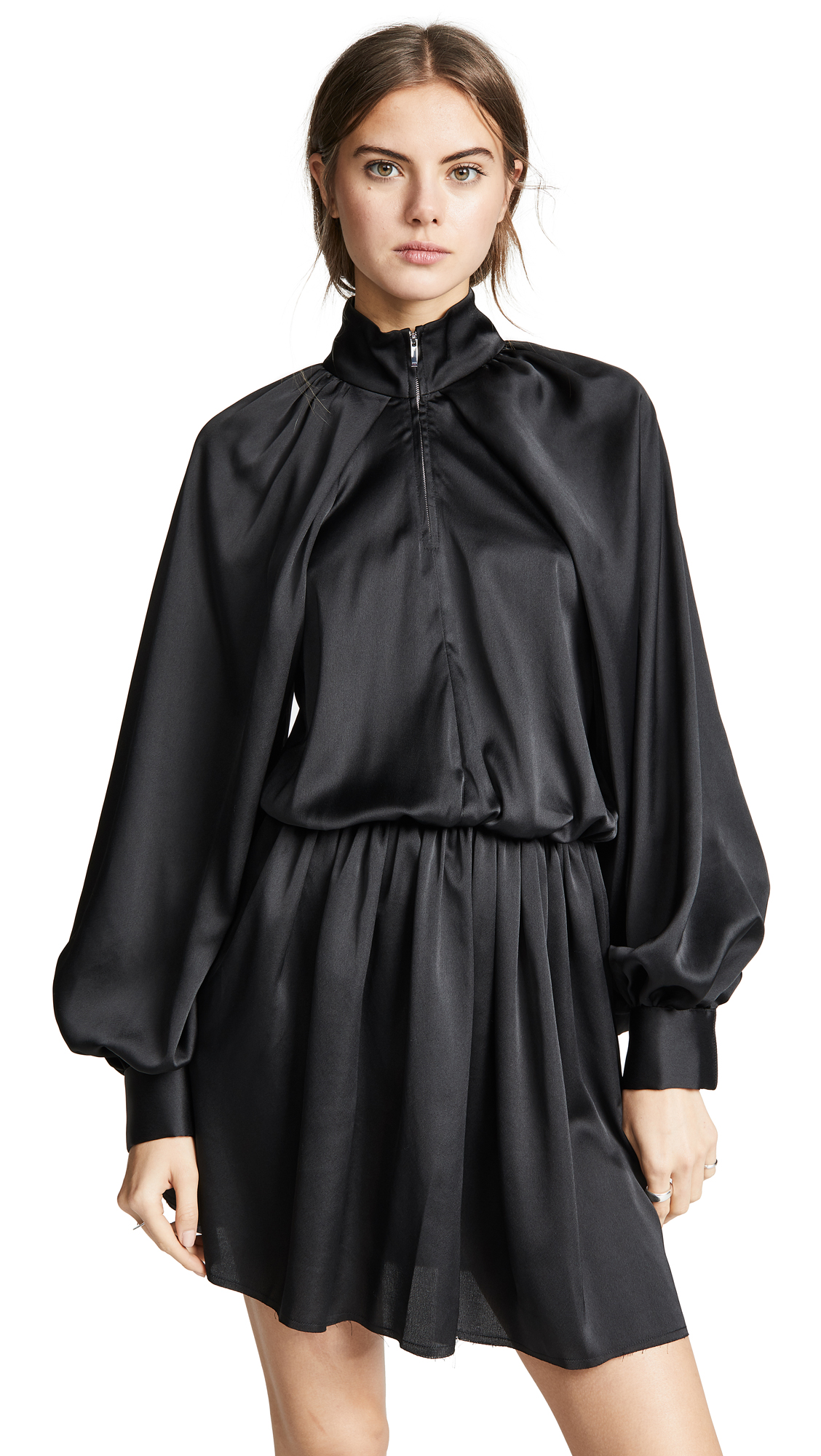 JOURDEN Satin Windbreaker Mini Dress in Black