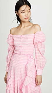 Anais Jourden Striped Lolita Off Shoulder Top